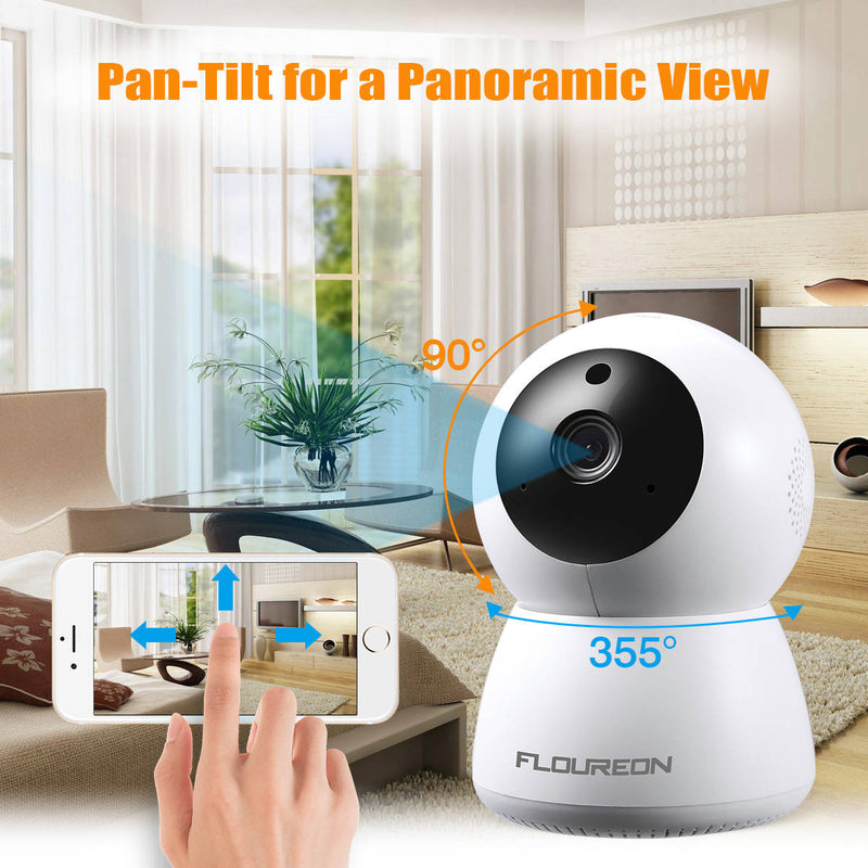 HD 1080P Wireless Security IP Pan/Tilt Camera Compatible with Alexa Echo Show