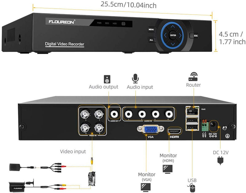 4CH 5 in 1 Digital Video Recorder with 4PCS HD 720P-AHD Camera Kits(No Hard Drive)