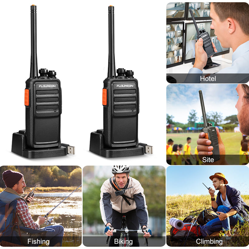 Walkie Talkies License-Free PMR 446MHZ Rechargeable 16 Channel Two Way Radio Handheld Transceiver Voice Prompt long Range Interphone Scan TOT with LED Light Earpieces(Black,2 PCS)