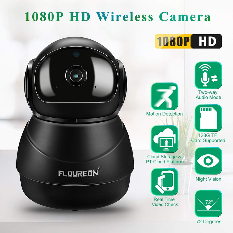 HD 1080P Wireless IP Pan/Tilt Camera Compatible with Alexa Echo Show