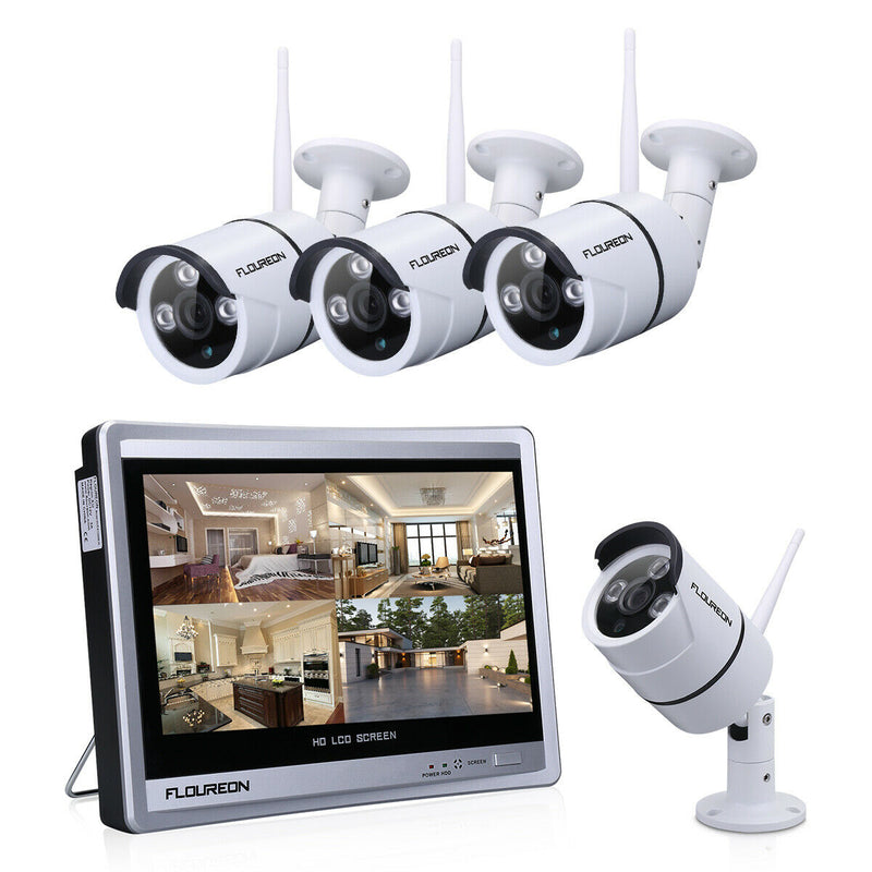 4CH 1080P WIFI NVR LCD Monitor Wireless Home Security Camera Night Vision+Screen
