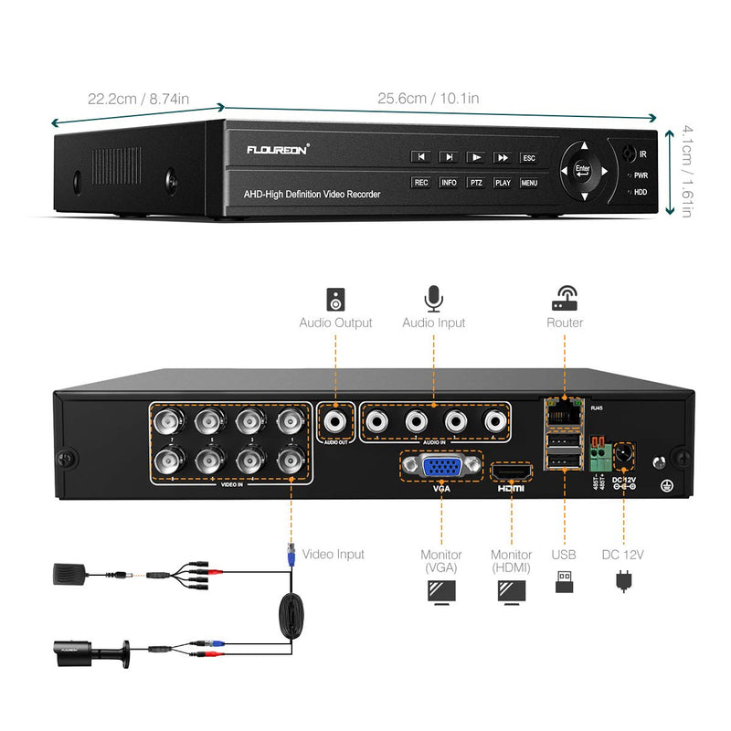 8CH True HD 1080P 6-in-1 Video DVR Recorder with 4X HD 1080P XVI Cameras, Human Detection