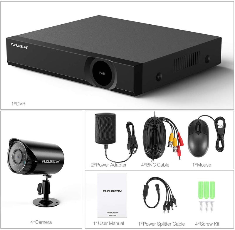 4CH 1080N DVR Recorder Kit with 4X 720P Security Cameras (No Hard Drive)