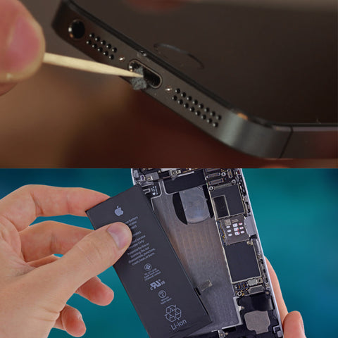 Clogged mobile phone charging port