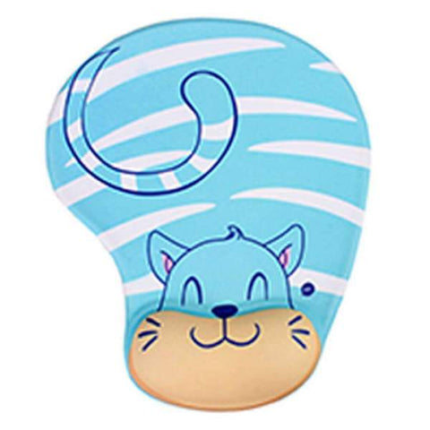 Tapis de Souris Ergonomique Gel Chat Bleu | CrazyWorth