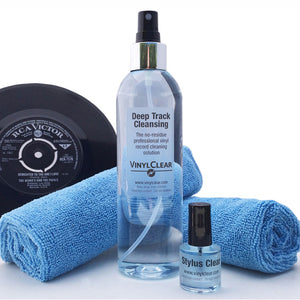 Vinyl LP Record Cleaner Kit. 250ml Premium Quality Record Cleaning Fluid with Atomiser Bottle, Foldaway Stand, Two Microcloths & 15ml Stylus Cleaning Fluid.
