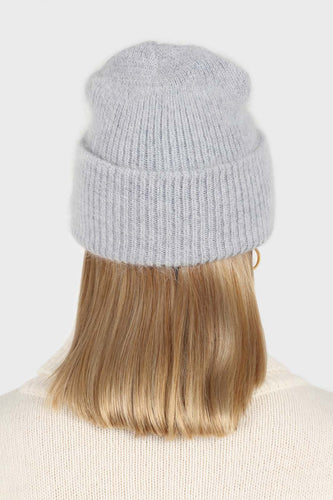 Pale grey mohair beanie hat2