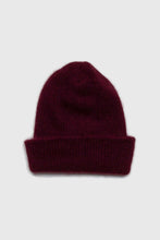 Load image into Gallery viewer, Burgundy mohair beanie hat1sx