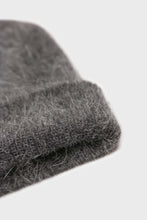 Load image into Gallery viewer, Charcoal grey mohair beanie hat2