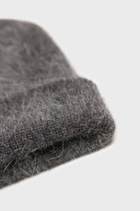 Charcoal grey mohair beanie hat2