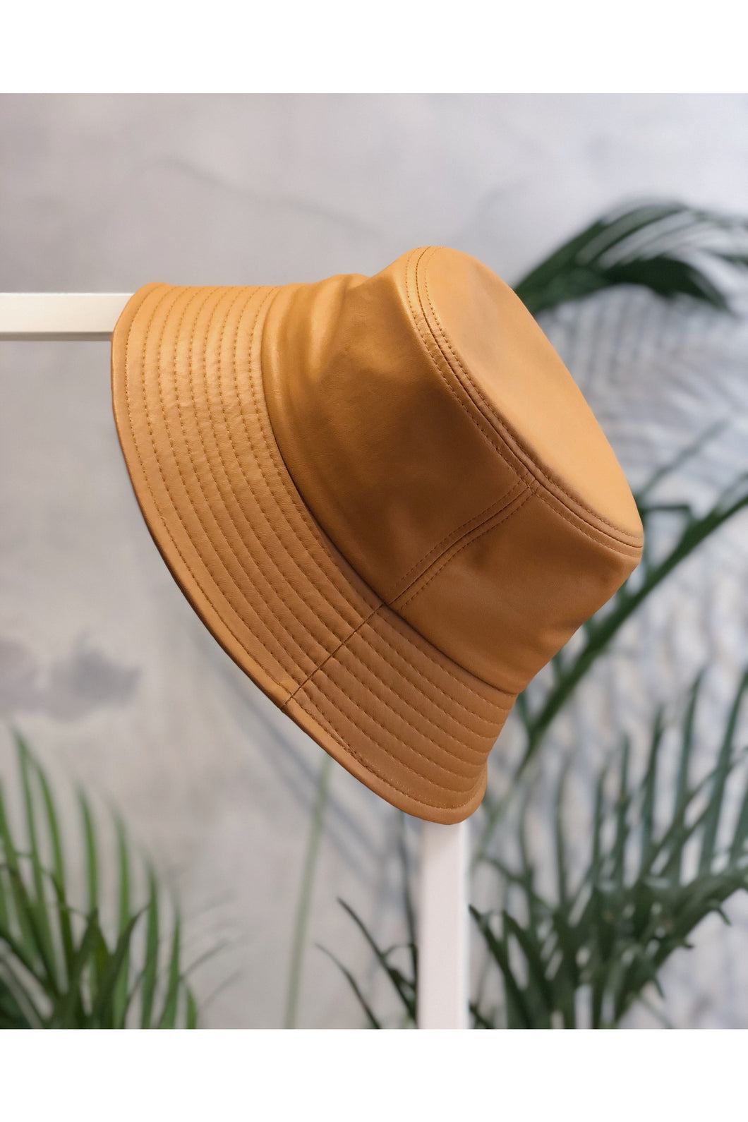 Mustard vegan leather oversized bucket hat_