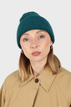 Load image into Gallery viewer, Teal mohair beanie hat1