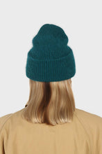 Load image into Gallery viewer, Teal mohair beanie hat2
