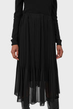 Load image into Gallery viewer, Black silky micro pleat maxi skirt3