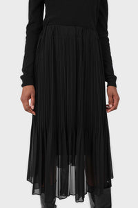 Black silky micro pleat maxi skirt3