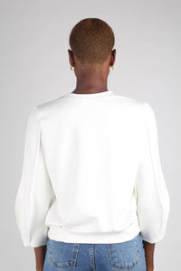 White sharp seamed sleeve top_6