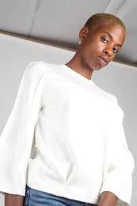 White sharp seamed sleeve top_1