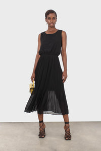 Black silky micro pleat maxi dress1