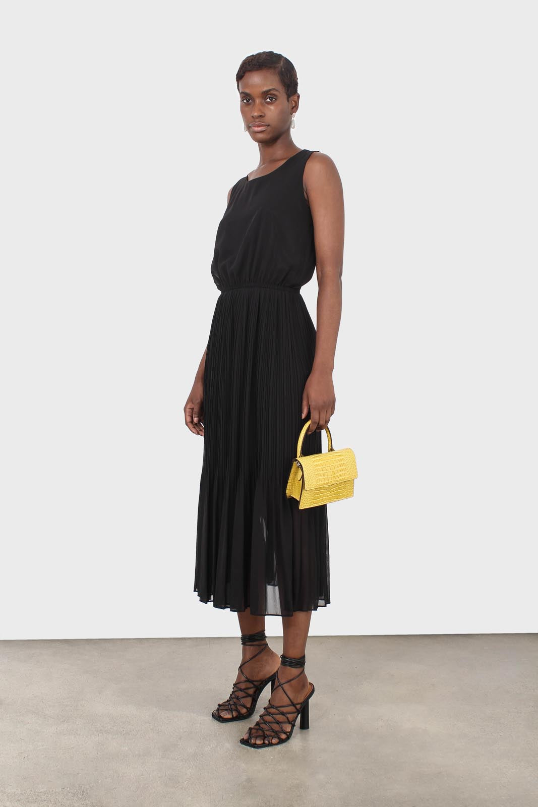 Black silky micro pleat maxi dress2