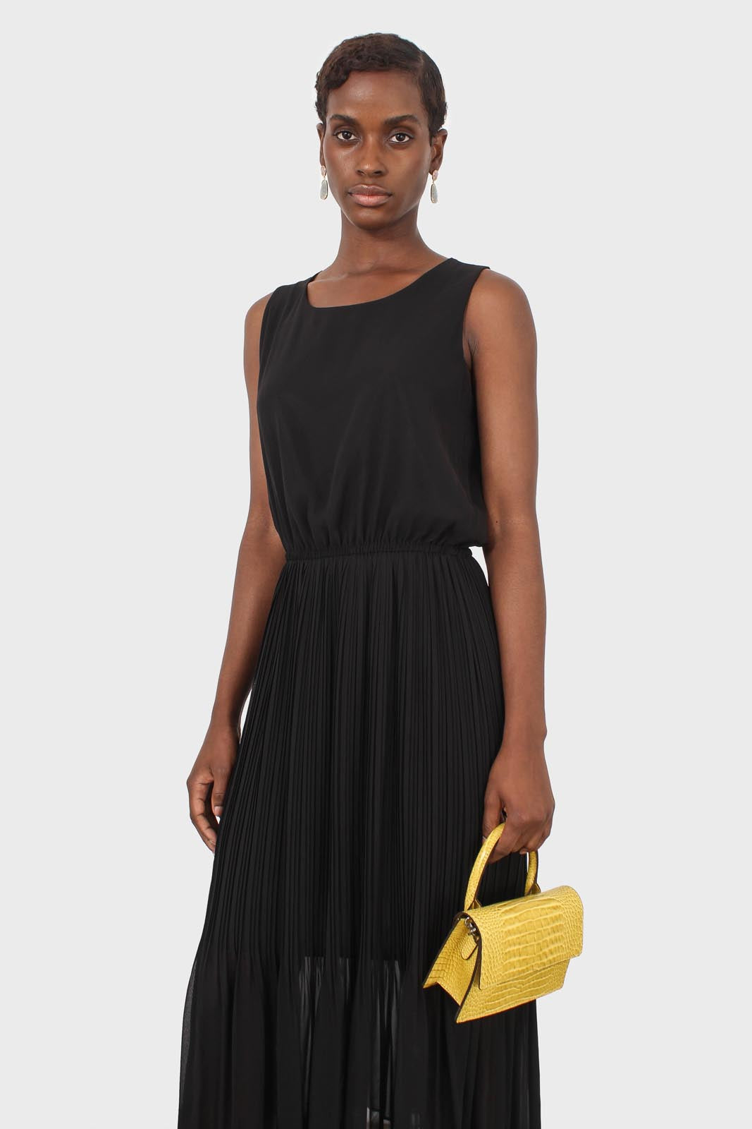 Black silky micro pleat maxi dress3