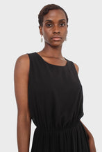 Load image into Gallery viewer, Black silky micro pleat maxi dress4