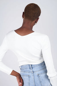 Ivory ribbed double V fitted knit top4