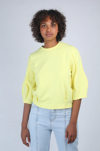 Yellow sharp seamed three quarter sleeve top_MCFBA2