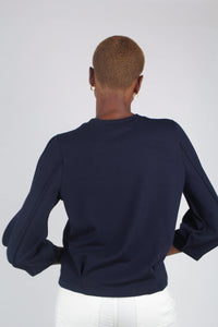 Navy sharp seamed sleeve top_3