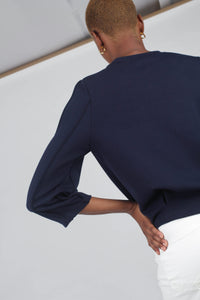 Navy sharp seamed sleeve top_6