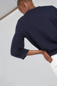 Navy sharp seamed sleeve top_8
