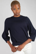 Load image into Gallery viewer, Navy sharp seamed sleeve top_10