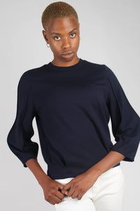 Navy sharp seamed sleeve top_10