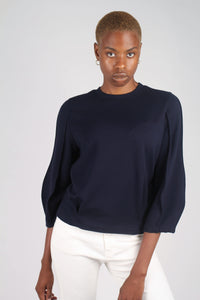 Navy sharp seamed sleeve top_11