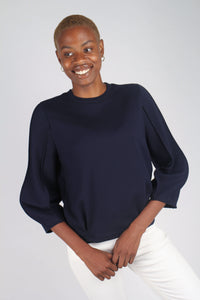 Navy sharp seamed sleeve top_1