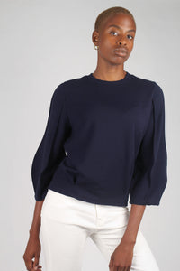 Navy sharp seamed sleeve top_2