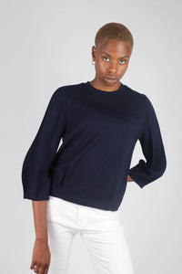 Navy sharp seamed sleeve top_4