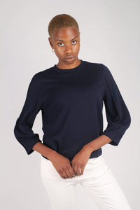 Navy sharp seamed sleeve top_7