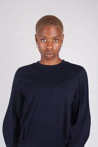 Navy sharp seamed sleeve top_9