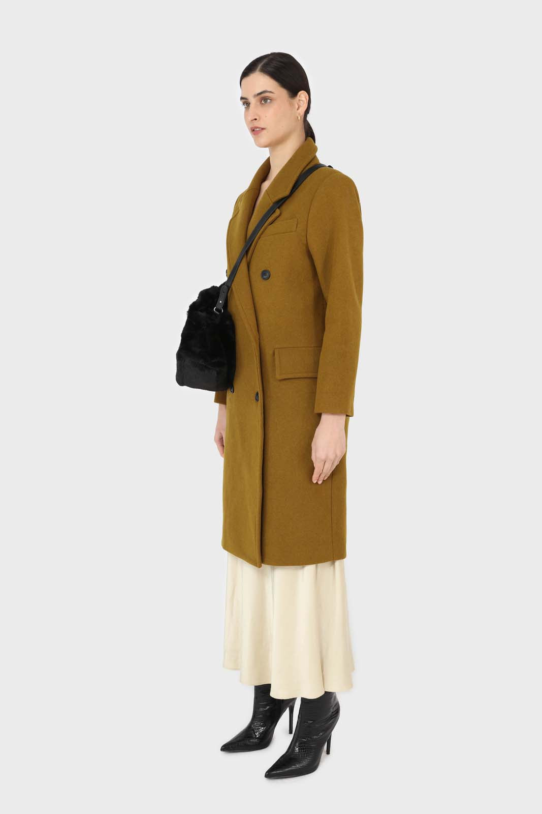 Mustard wool double breasted coat12