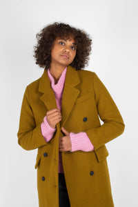 Mustard wool double breasted coat5