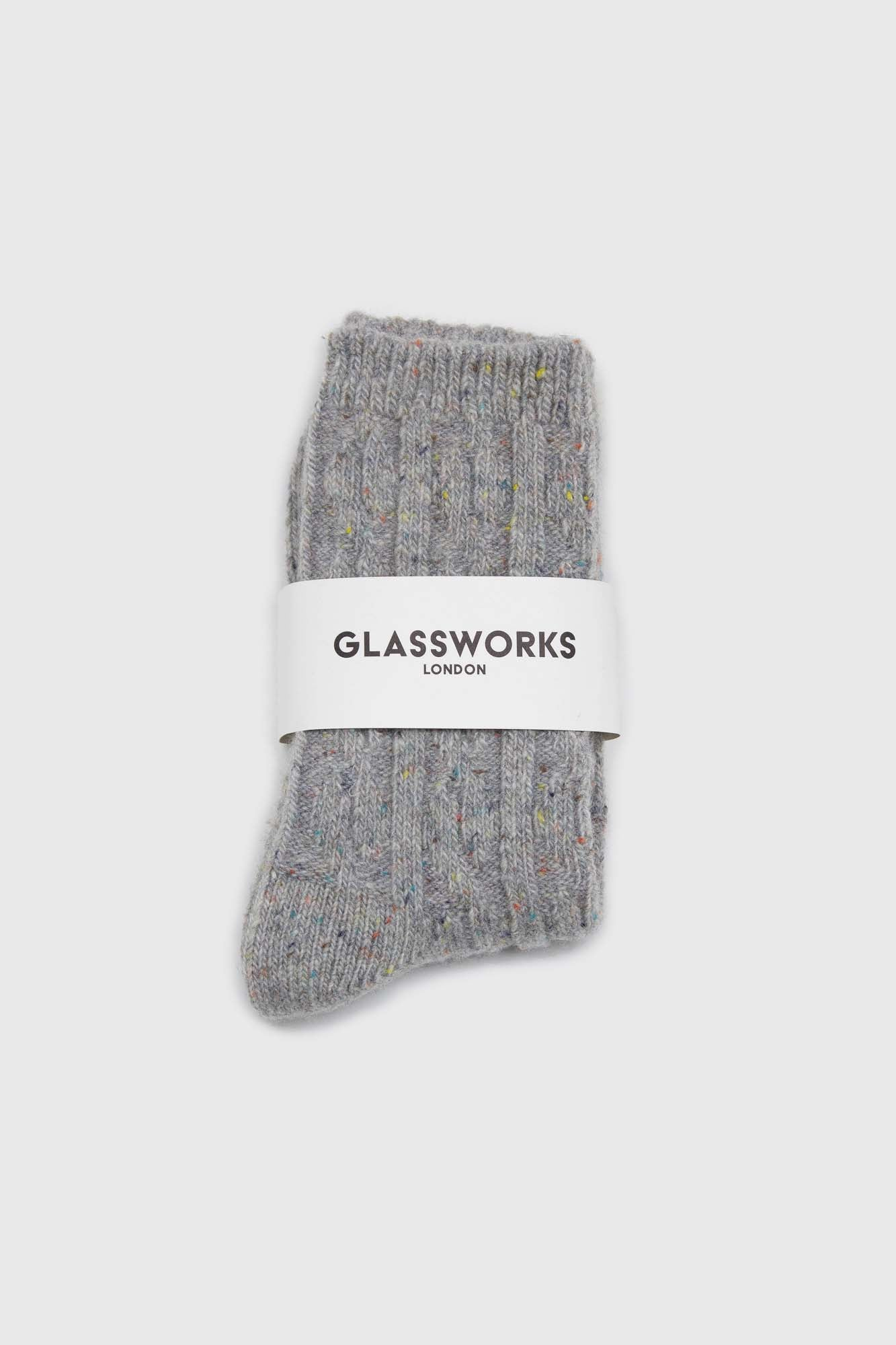 Pale grey rainbow fleck thick socks2