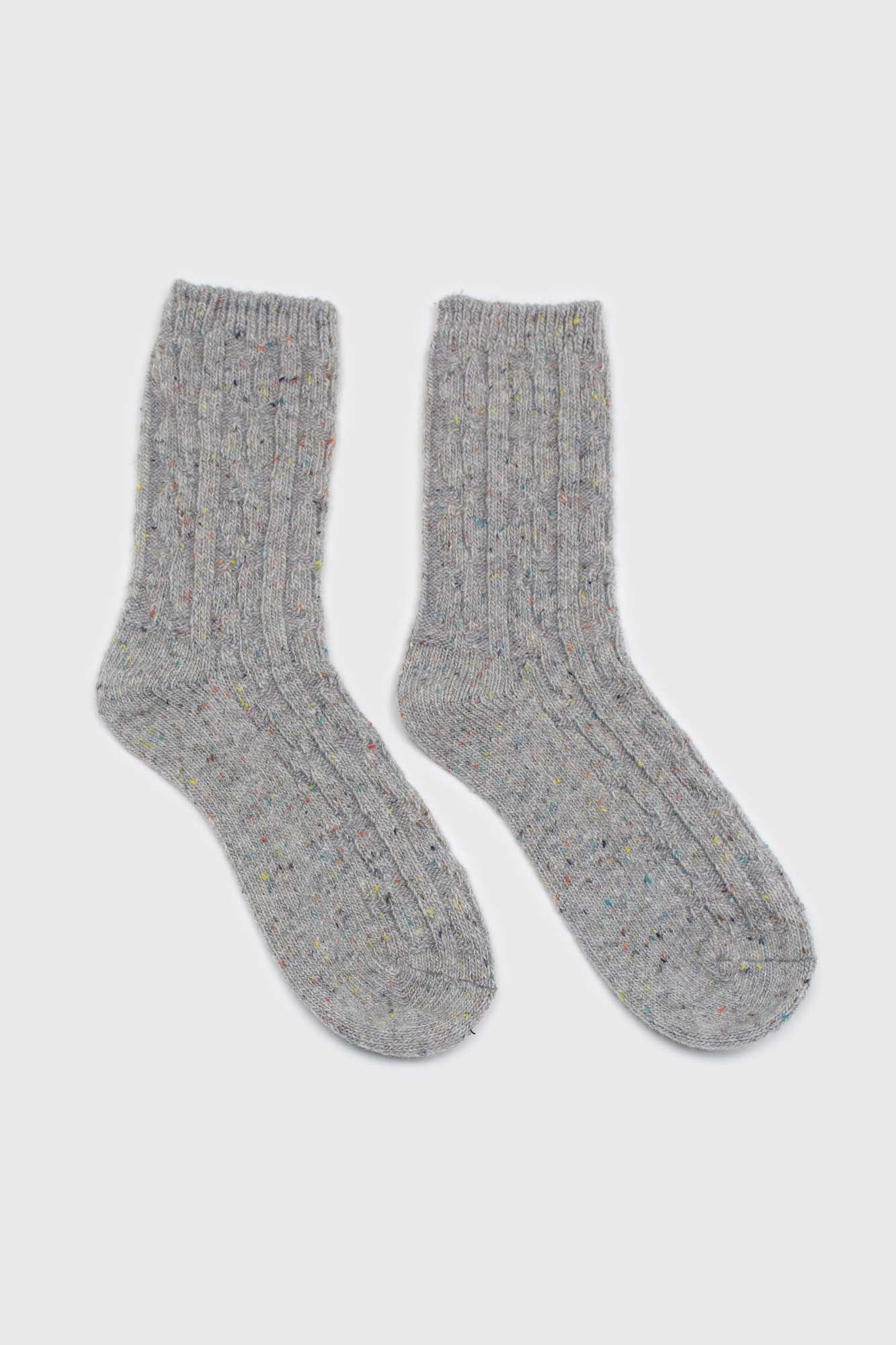 Pale grey rainbow fleck thick socks3