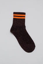 Load image into Gallery viewer, Pink metallic neon orange varsity stripe socks_PFFBA3