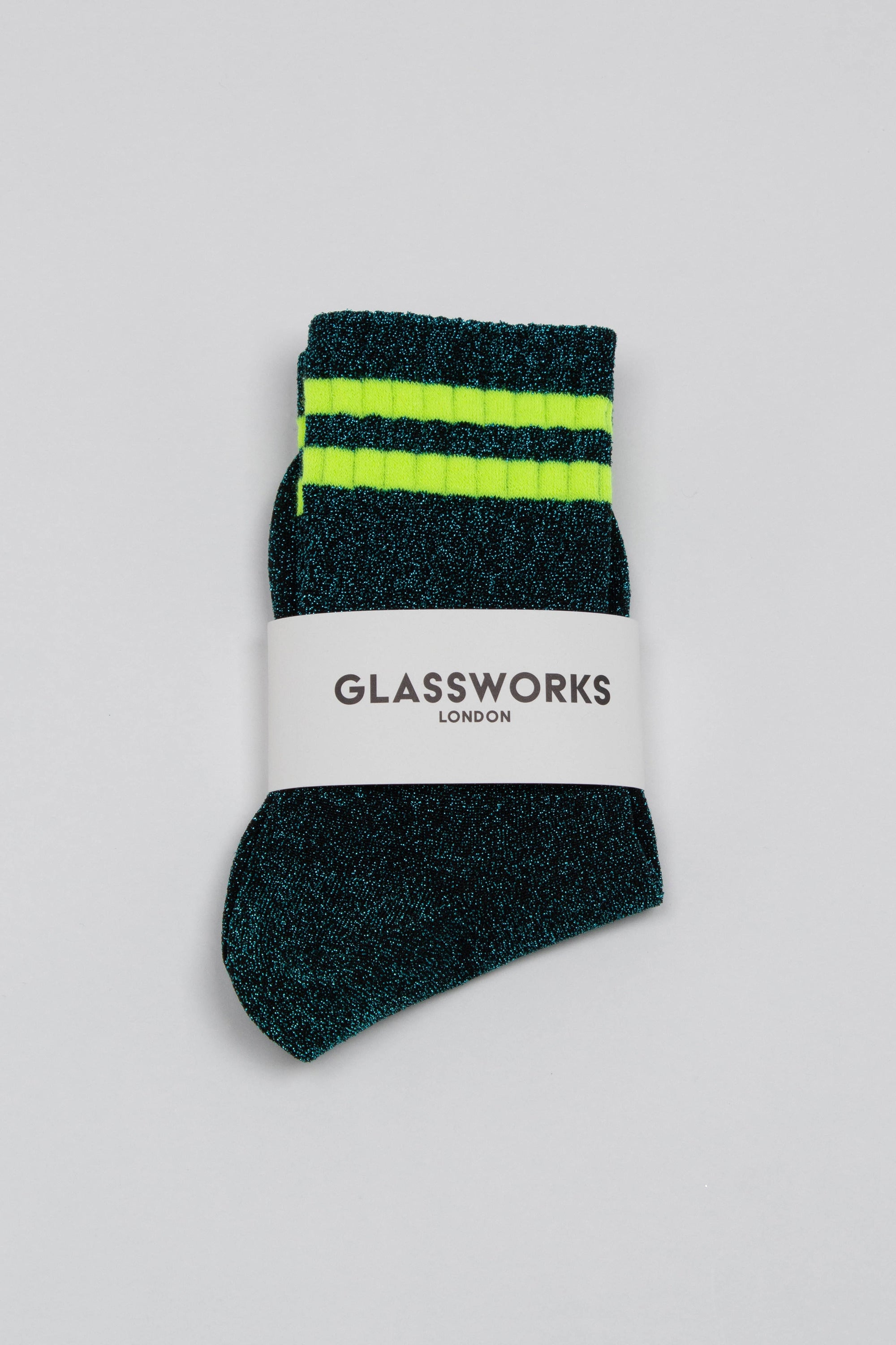 Teal metallic neon yellow varsity stripe socks_PFFBA1