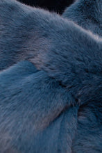 Load image into Gallery viewer, Bright blue thick faux fur tuck scarf2