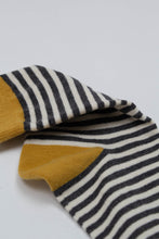 Load image into Gallery viewer, Mustard charcoal and white striped socks_PFDBA1