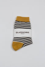 Load image into Gallery viewer, Mustard charcoal and white striped socks_PFFBA1