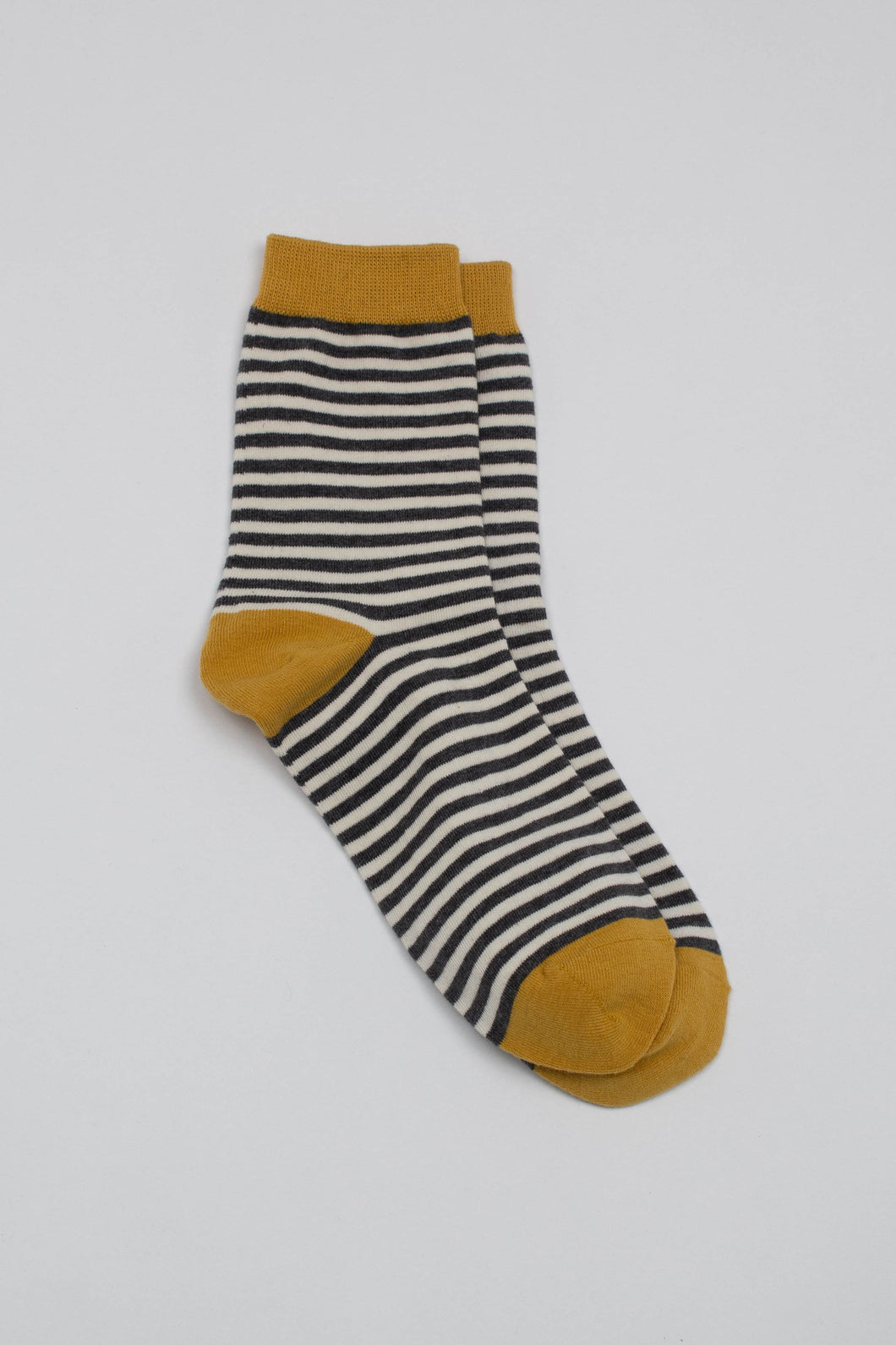 Mustard charcoal and white striped socks_PFFBA2