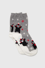 Load image into Gallery viewer, Grey snow slide black bear xmas socks1