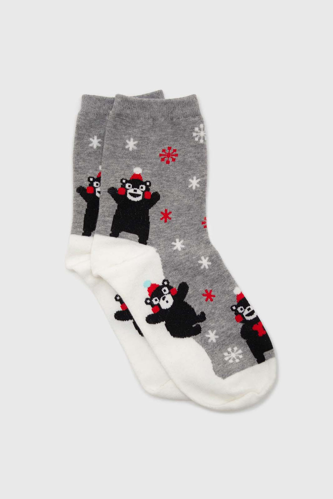 Grey snow slide black bear xmas socks1